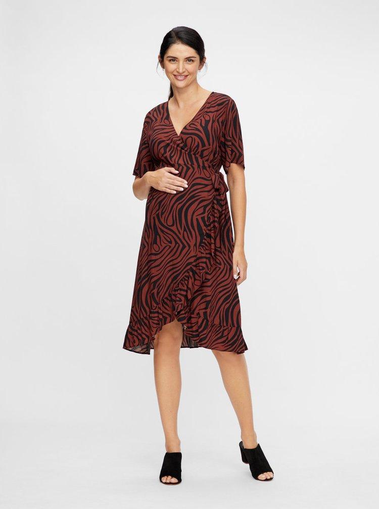 Hnědé zavinovací vzorované těhotenské šaty Mama.licious