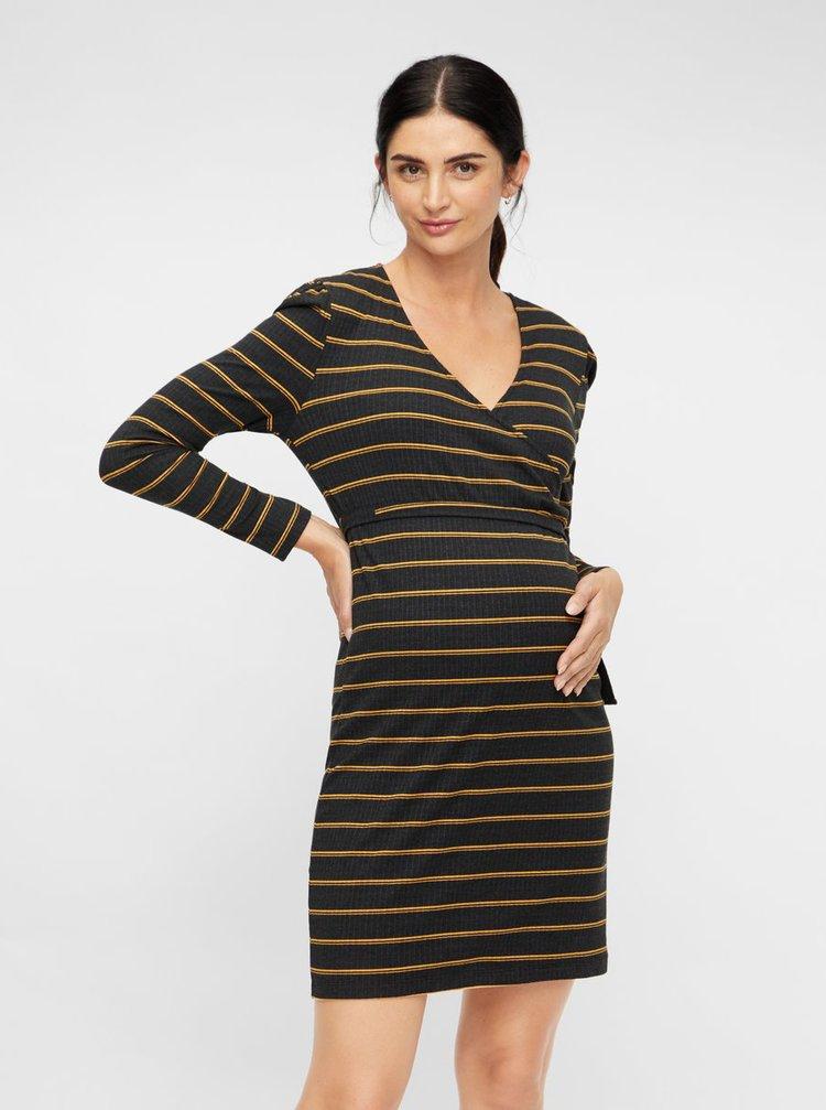 Tmavě šedé pruhované pouzdrové těhotenské/kojicí šaty Mama.licious