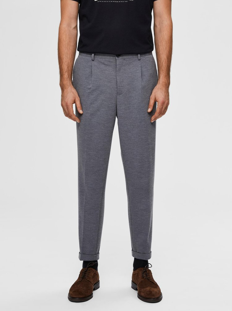 Šedé zkrácené kalhoty Selected Homme