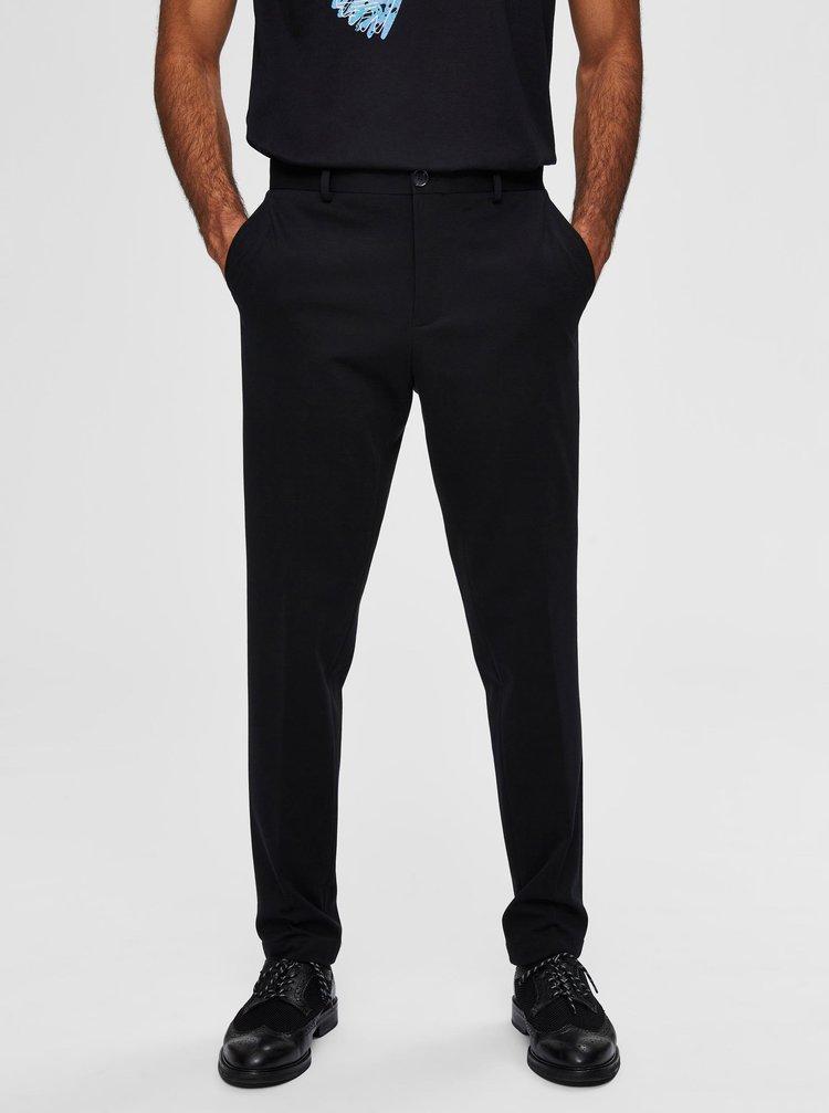 Černé zkrácené kalhoty Selected Homme