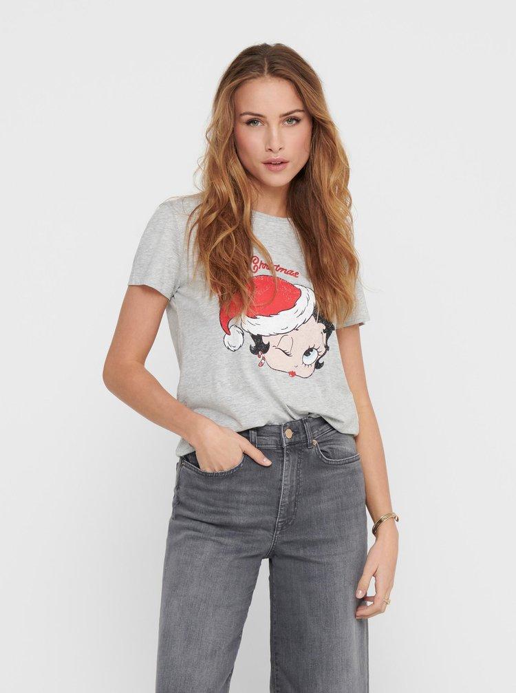 Šedé tričko s potlačou Jacqueline de Yong South
