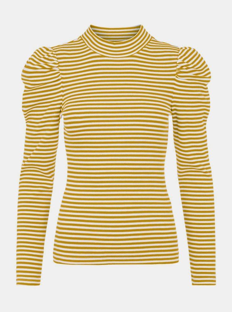 Žluté pruhované tričko se stojáčkem Pieces
