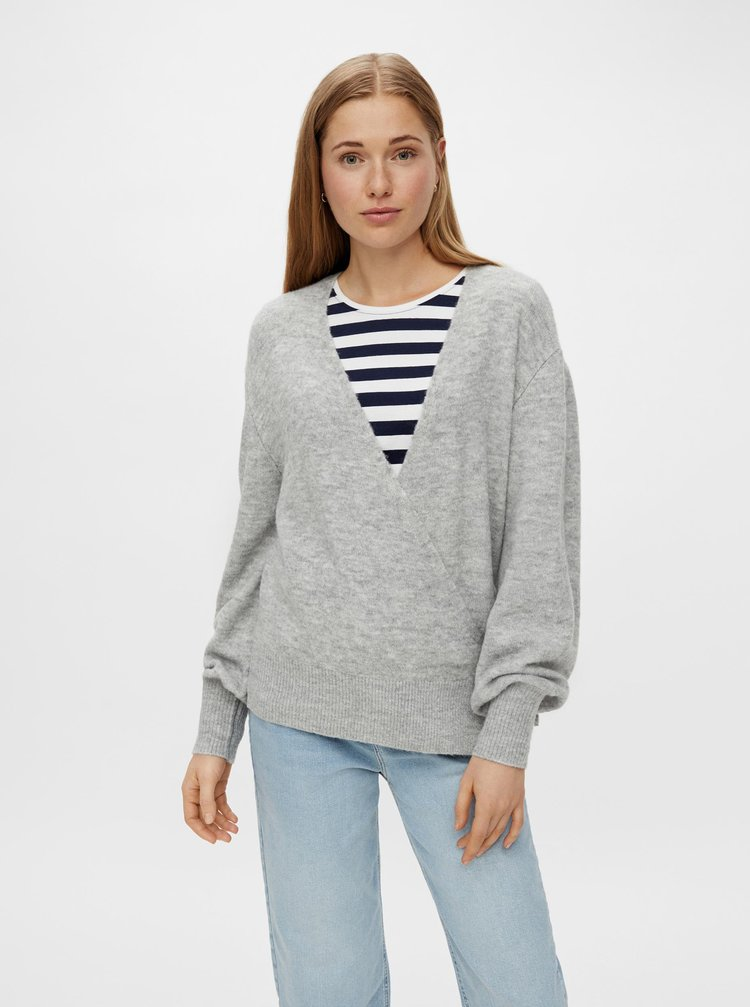 Šedý sveter so zaväzovaním Pieces