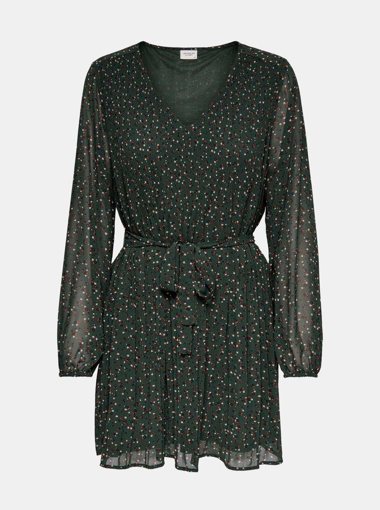 Tmavě zelené vzorované šaty Jacqueline de Yong Minna