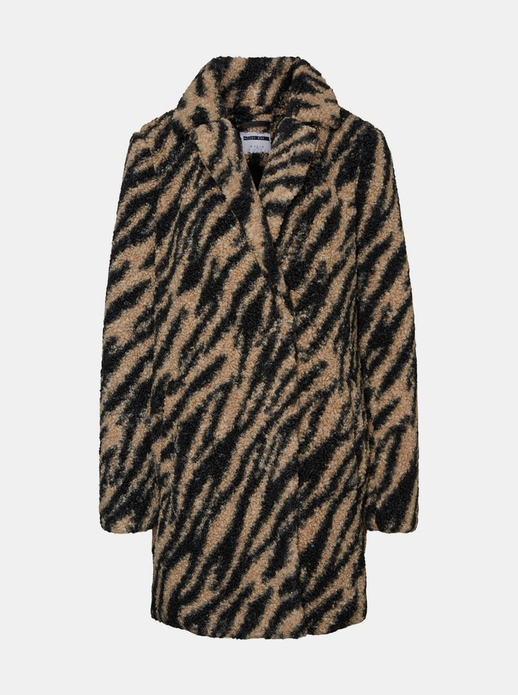 Černý vzorovaný zimní kabát Noisy May Gabi