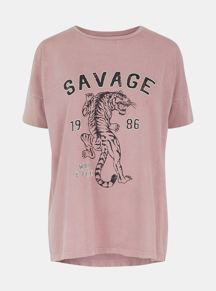 Růžové tričko s potiskem Pieces