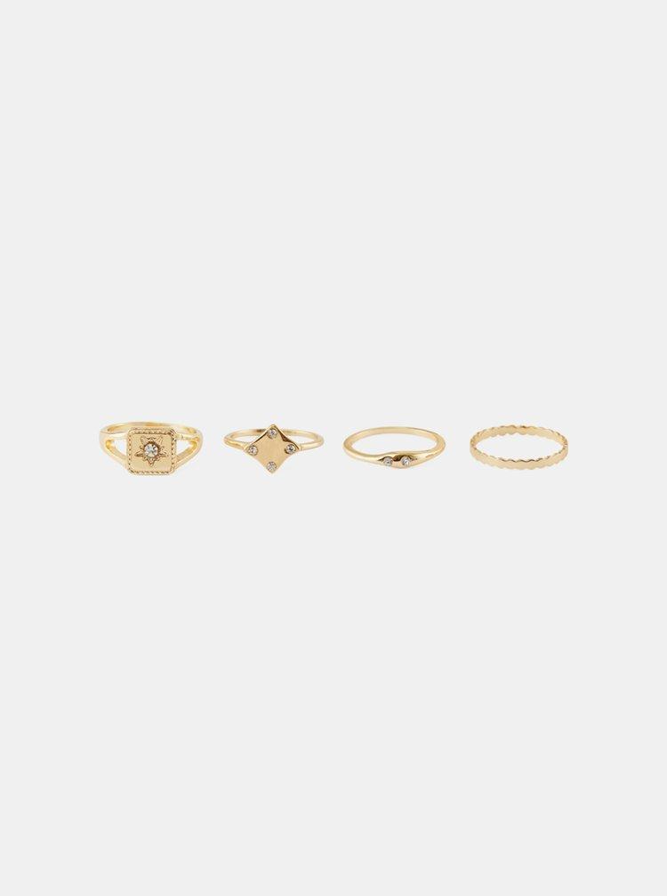Sada čtyř prstýnků ve zlaté barvě Pieces