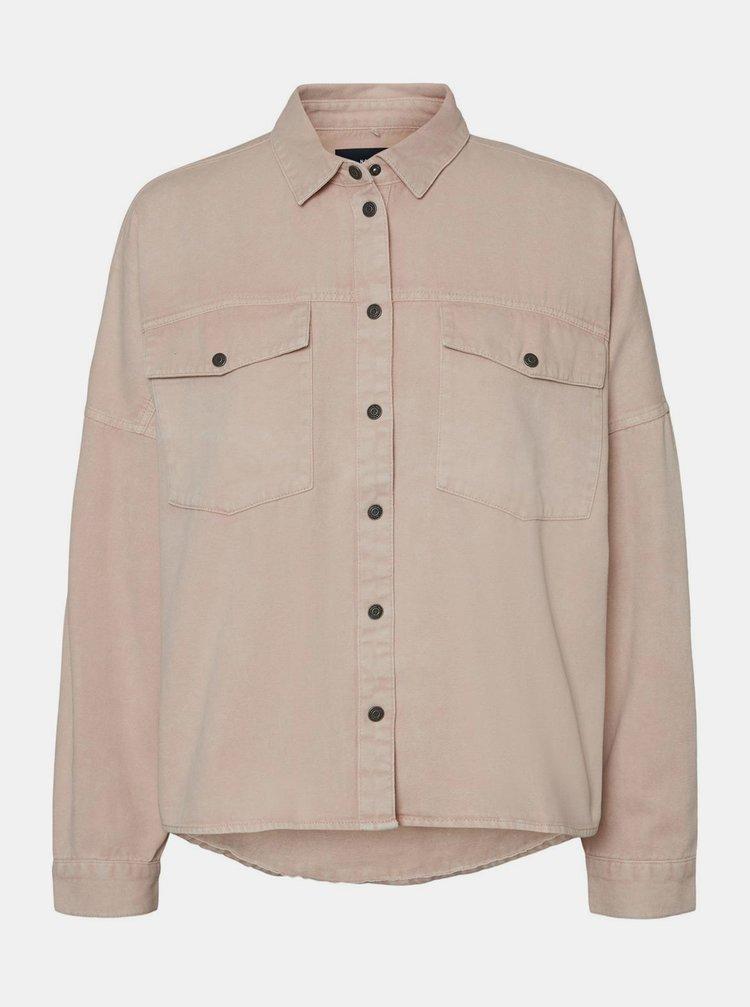 Růžová džínová košile Noisy May Rica