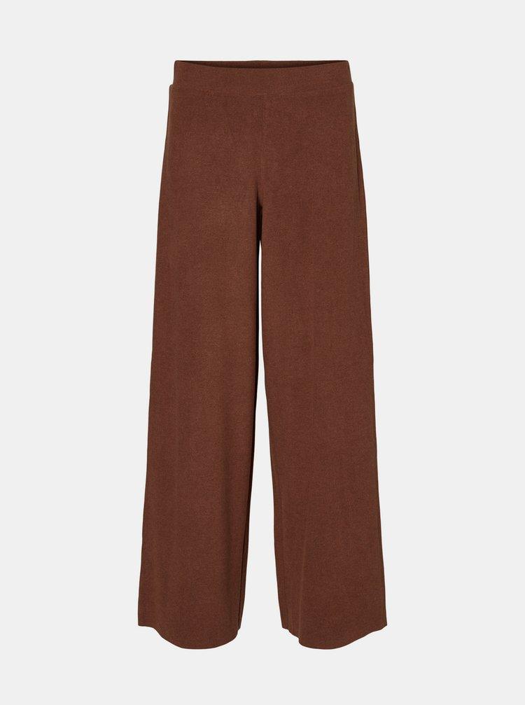 Hnědé široké kalhoty Noisy May Alisa