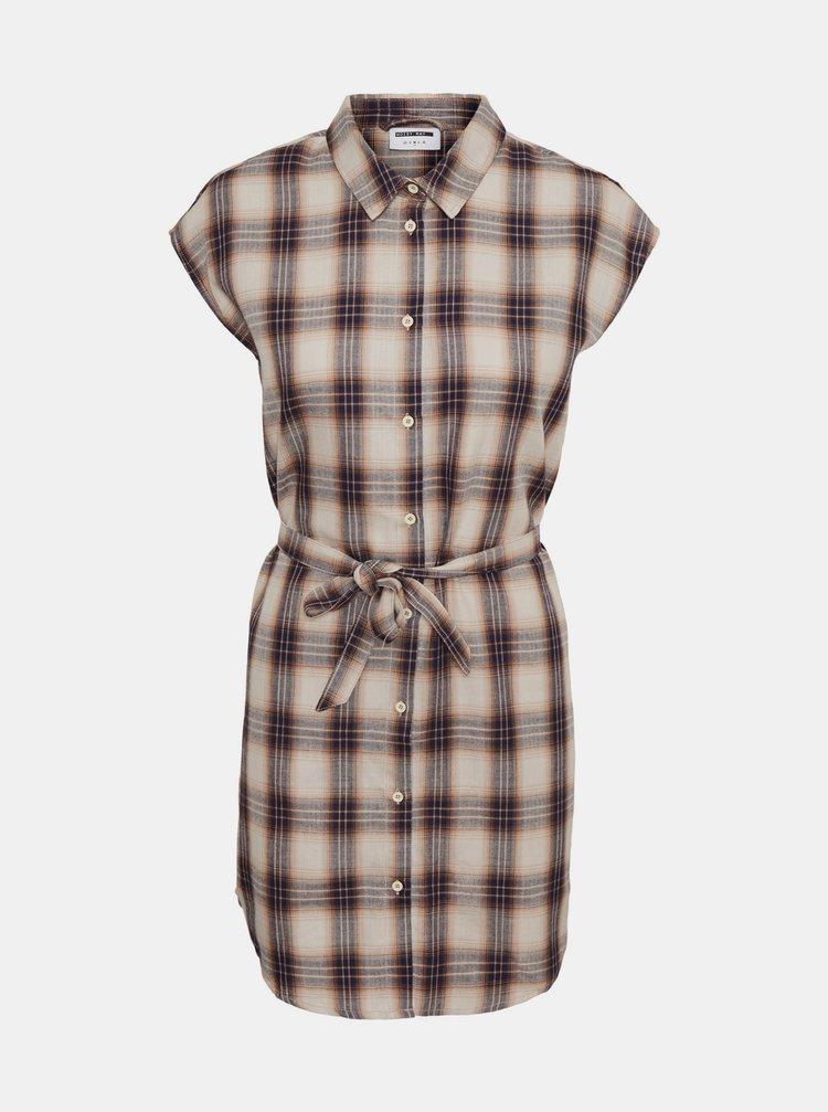 Krémové kostkované košilové šaty Noisy May Ella