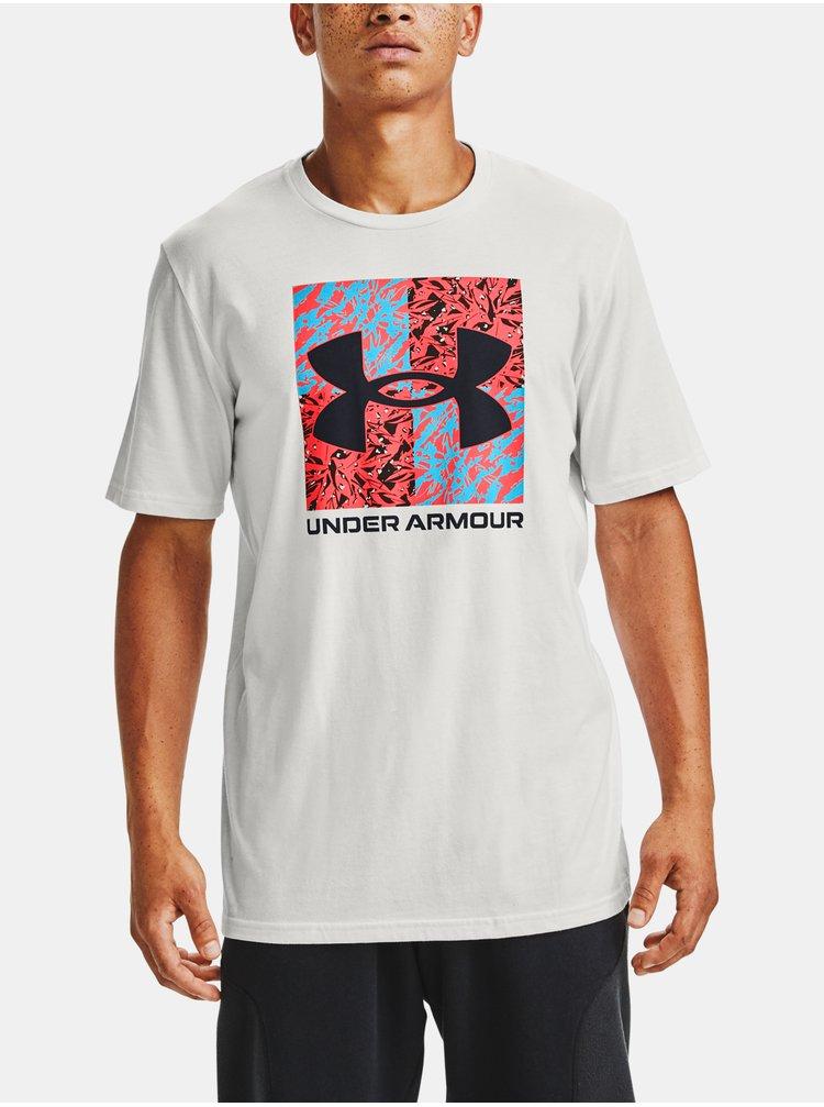 Bílé tričko Under Armour SHATTERED BOX LOGO SS