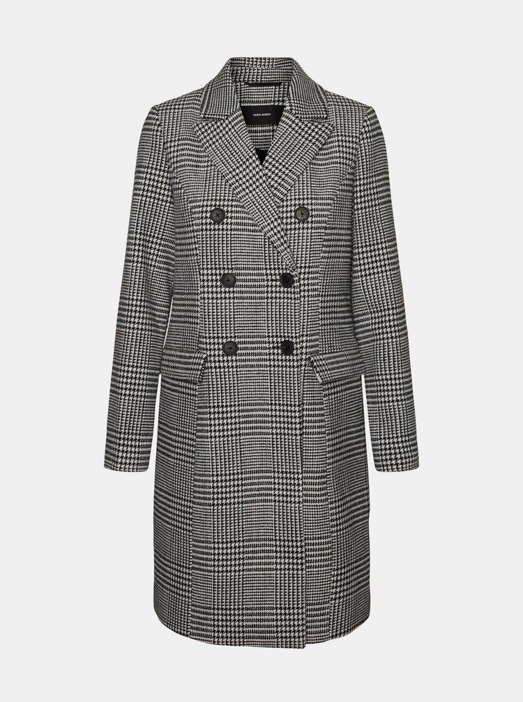 Šedý kostkovaný kabát s příměsí vlny VERO MODA