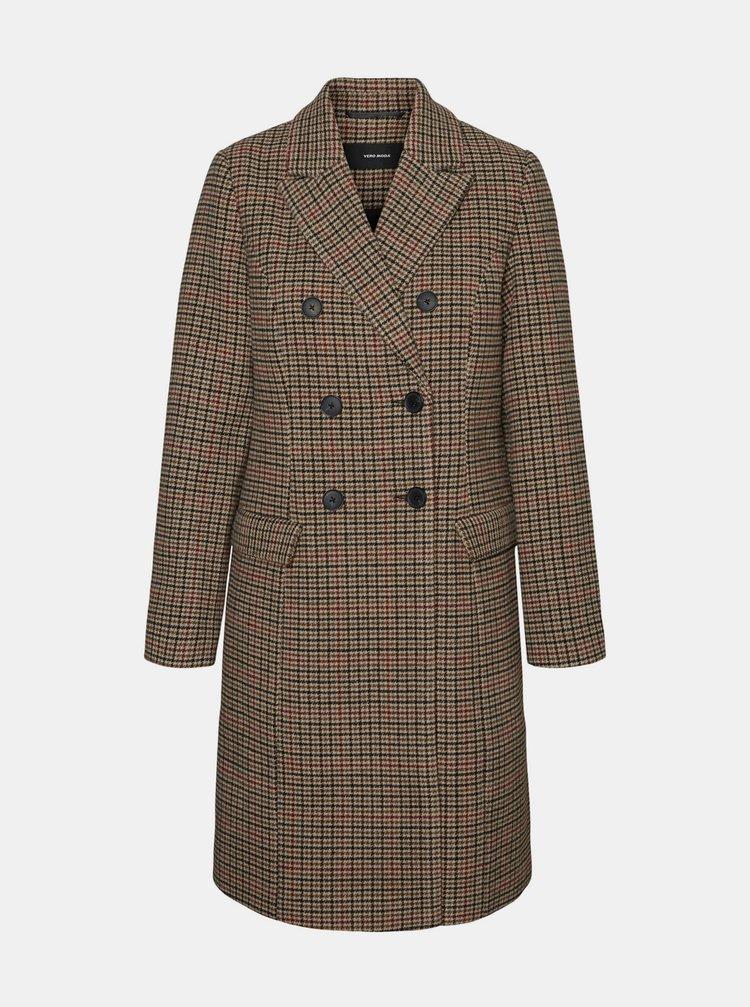 Hnědý kostkovaný kabát s příměsí vlny VERO MODA