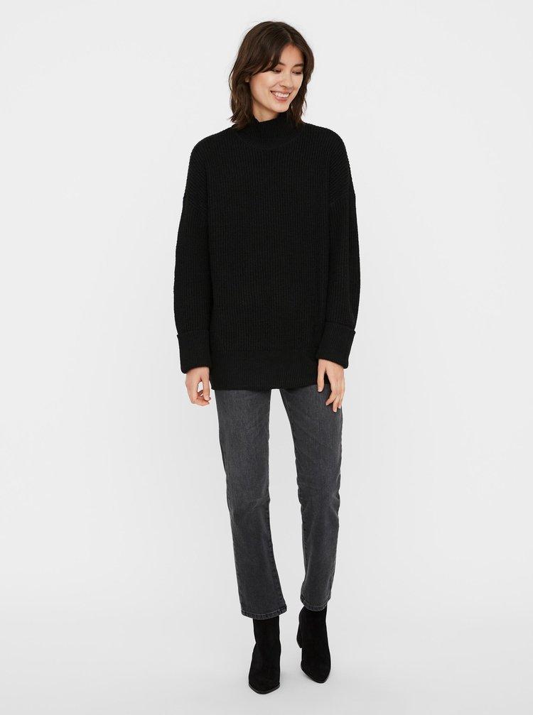 Čierny dlhý sveter so stojáčikom VERO MODA