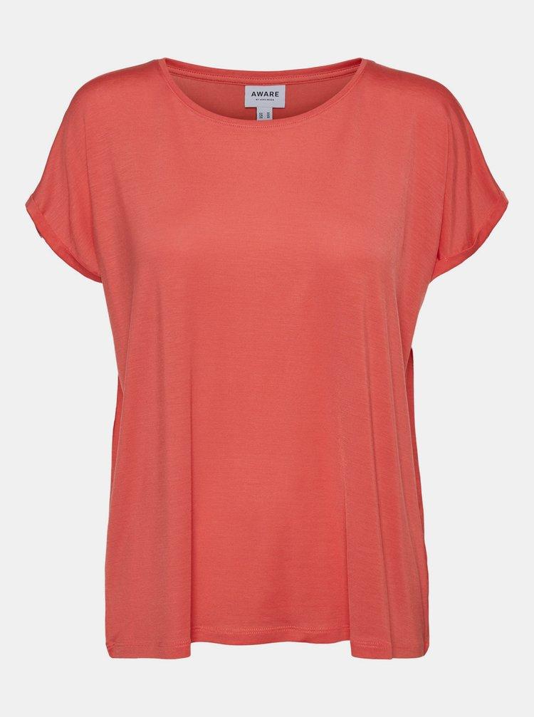 Korálové basic tričko AWARE by VERO MODA Ava