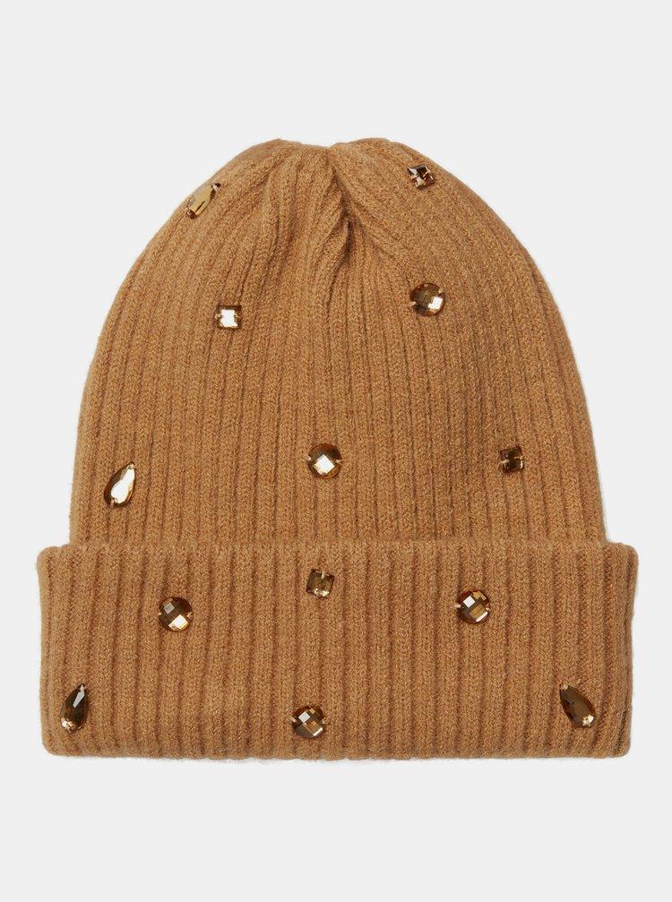 Hnedá čiapka s ozdobnými kamienkami VERO MODA