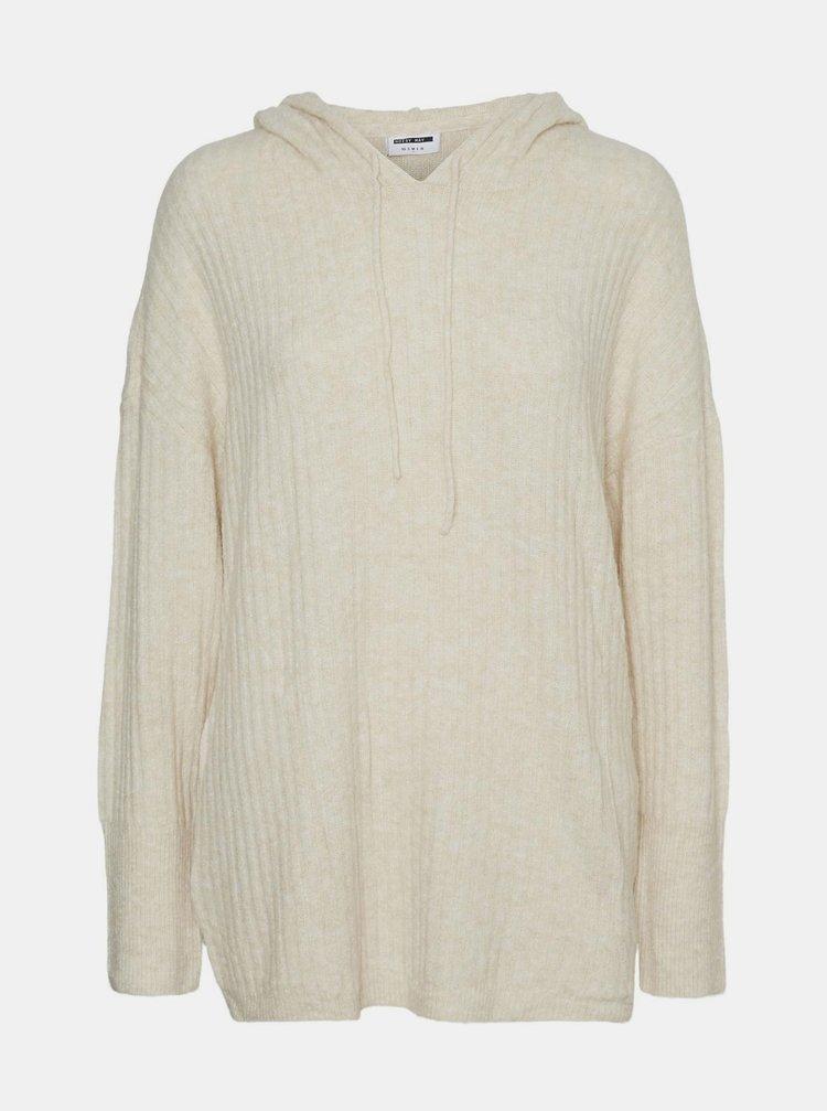 Krémový sveter s kapucou Noisy May Ally