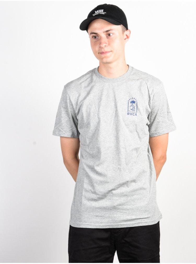 RVCA BAD PALMS HEATHER GREY pánské triko s krátkým rukávem - šedá
