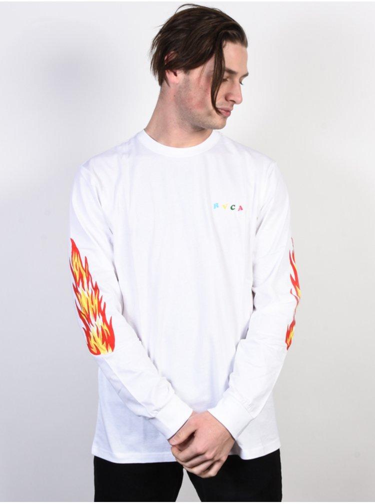 RVCA FIRING PINS white pánské triko s dlouhým rukávem - bílá