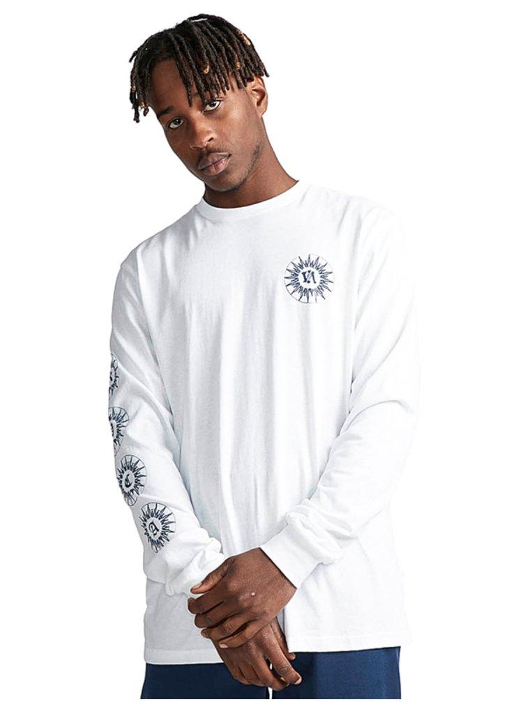 RVCA TIGRE white pánské triko s dlouhým rukávem - bílá
