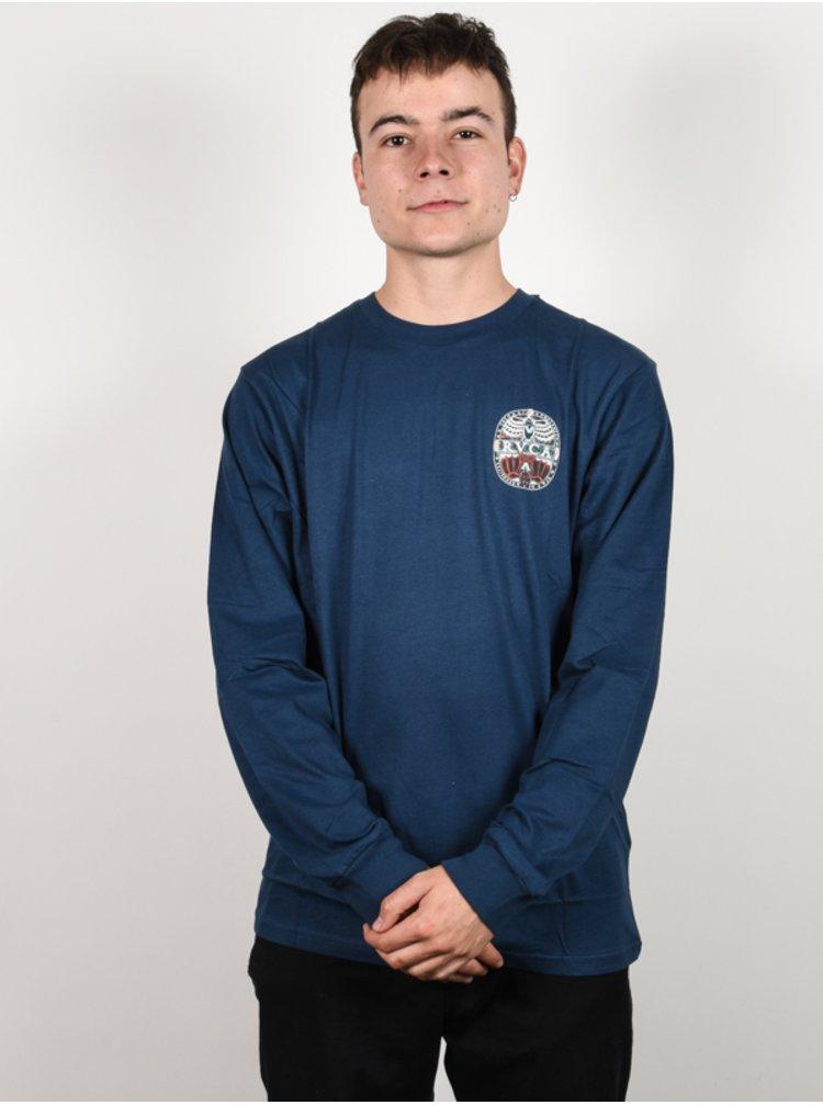 RVCA MANDER SEATTLE BLUE pánské triko s dlouhým rukávem - modrá