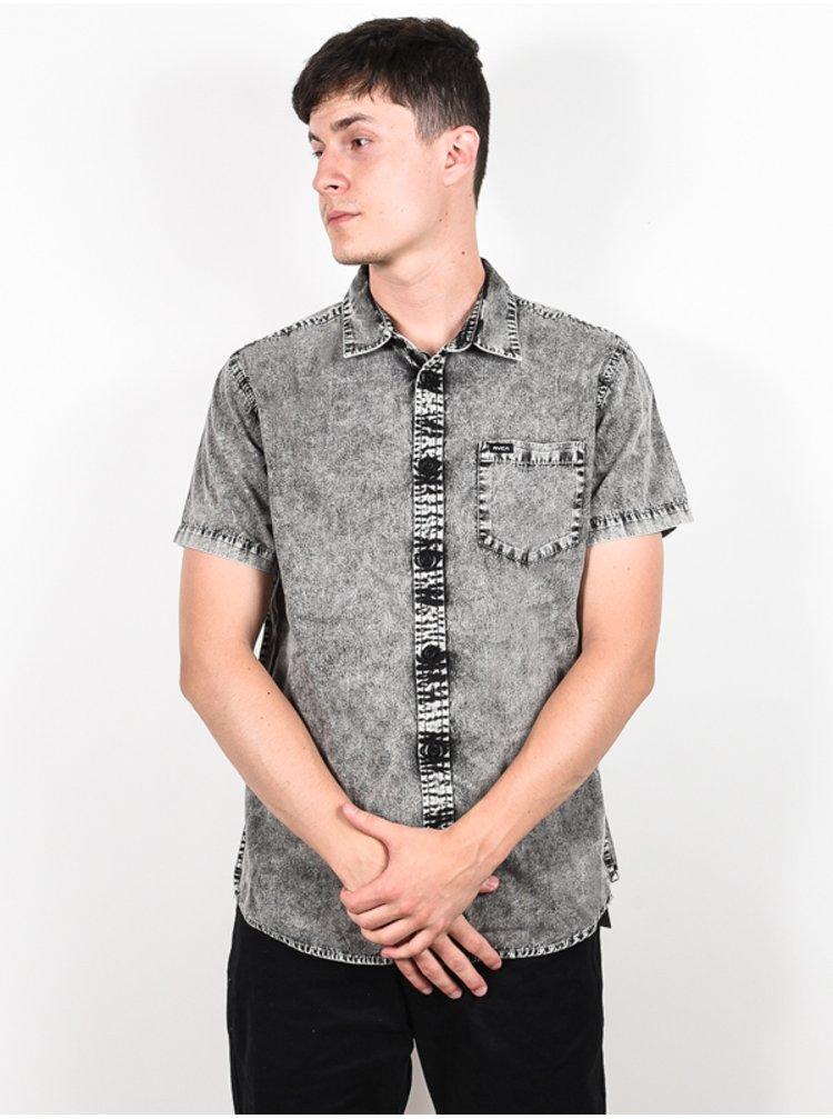 RVCA GREYSON black košile pro muže krátký rukáv - šedá
