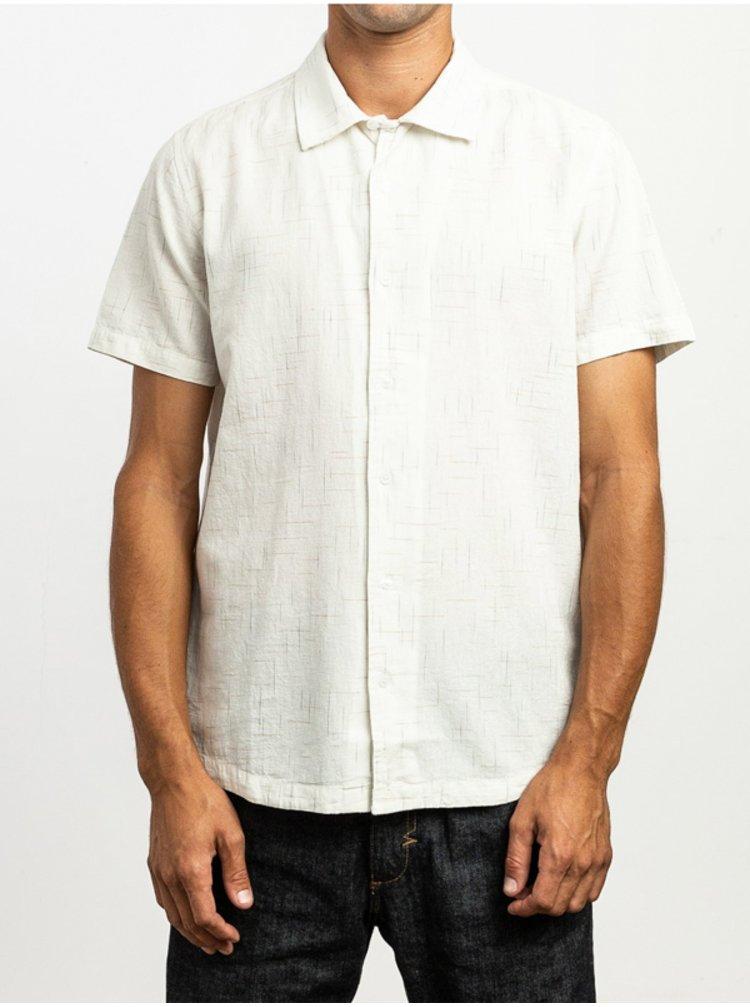 RVCA HI GRADE FLECK ANTIQUE WHITE košile pro muže krátký rukáv - bílá