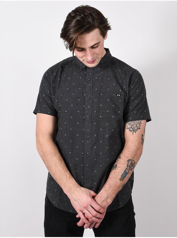 Billabong ALL DAY JACQUARD black košile pro muže krátký rukáv - šedá
