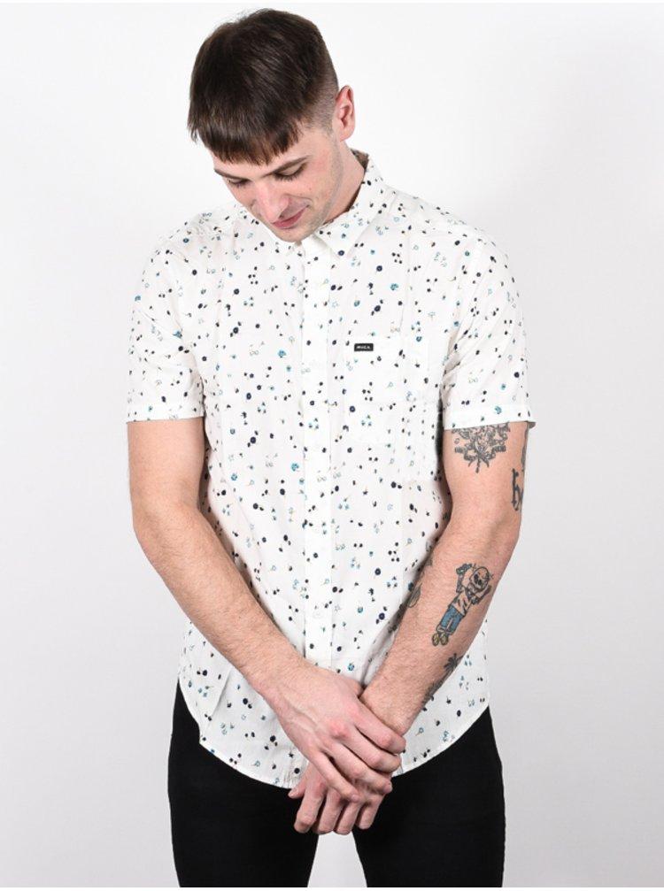 RVCA CALICO ANTIQUE WHITE košile pro muže krátký rukáv - bílá