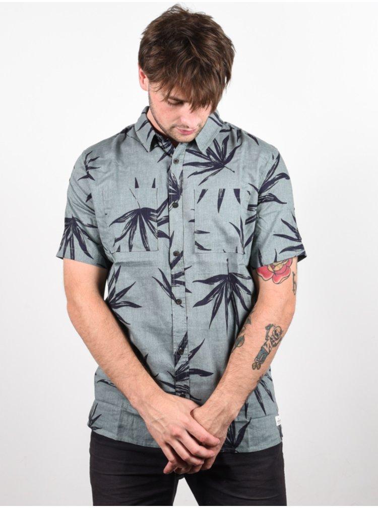 Quiksilver DELI PALM CHINOIS GREEN DELI PALM košile pro muže krátký rukáv - šedá