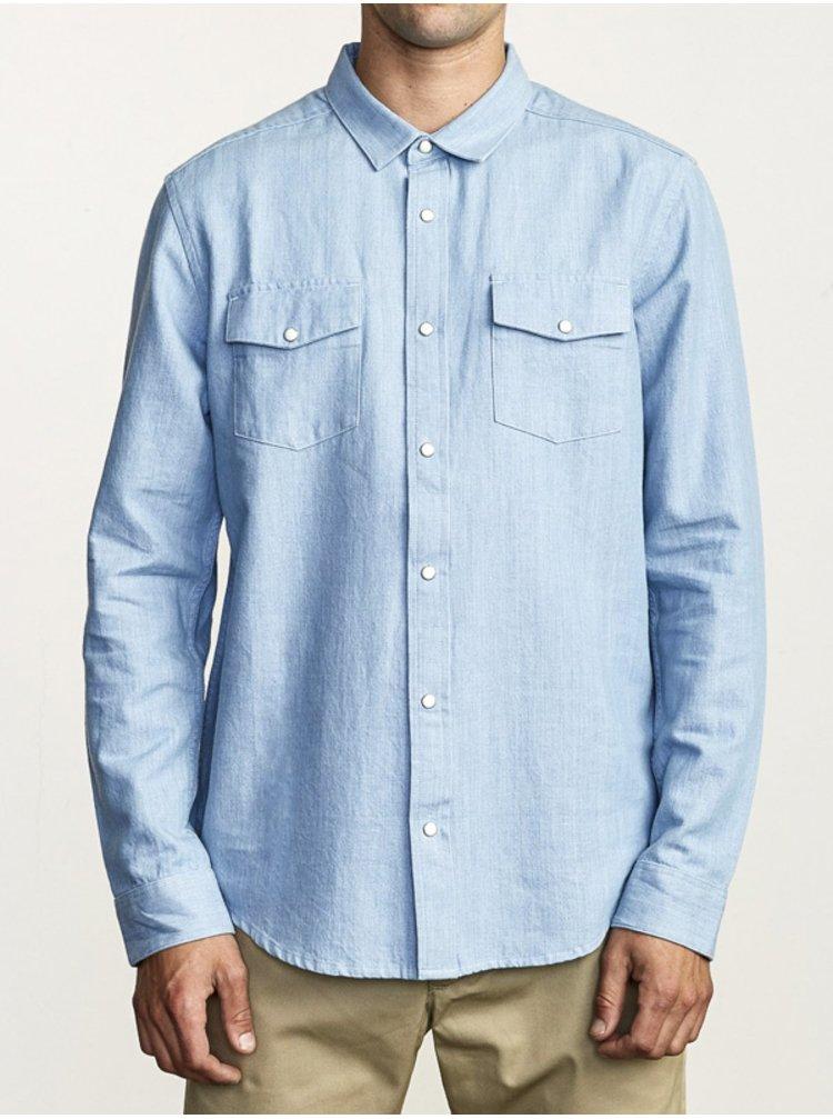 RVCA NAKAMA II DENIM pánské košile s dlouhým rukávem - modrá