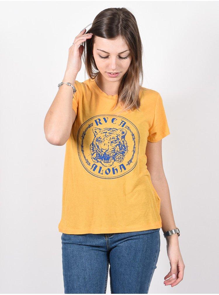 RVCA ALOHATIGER AMBER dámské triko s krátkým rukávem - žlutá