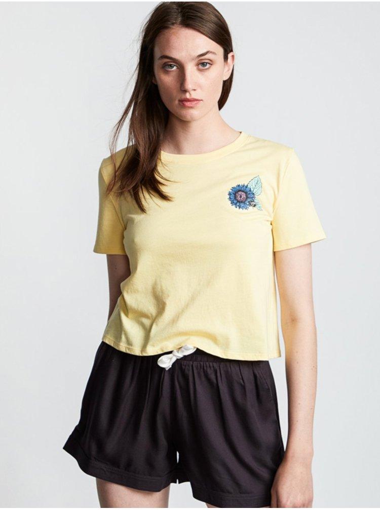 Element BRANDED CROP POPCORN dámské triko s krátkým rukávem - žlutá