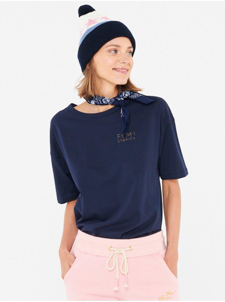 Femi Stories LOOSE NVY dámské triko s krátkým rukávem - černá