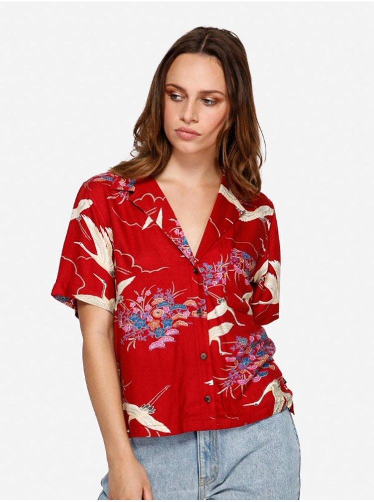 RVCA CRANES RED košile pro ženy - červená