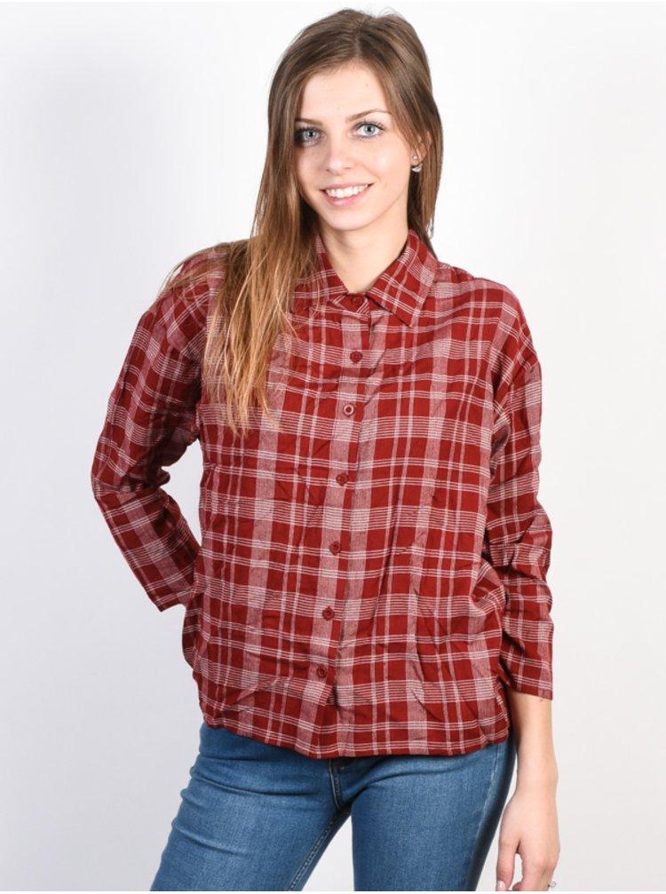 RVCA DRIFT AWAY BURNT RED dámská košile s dlouhým rukávem - červená