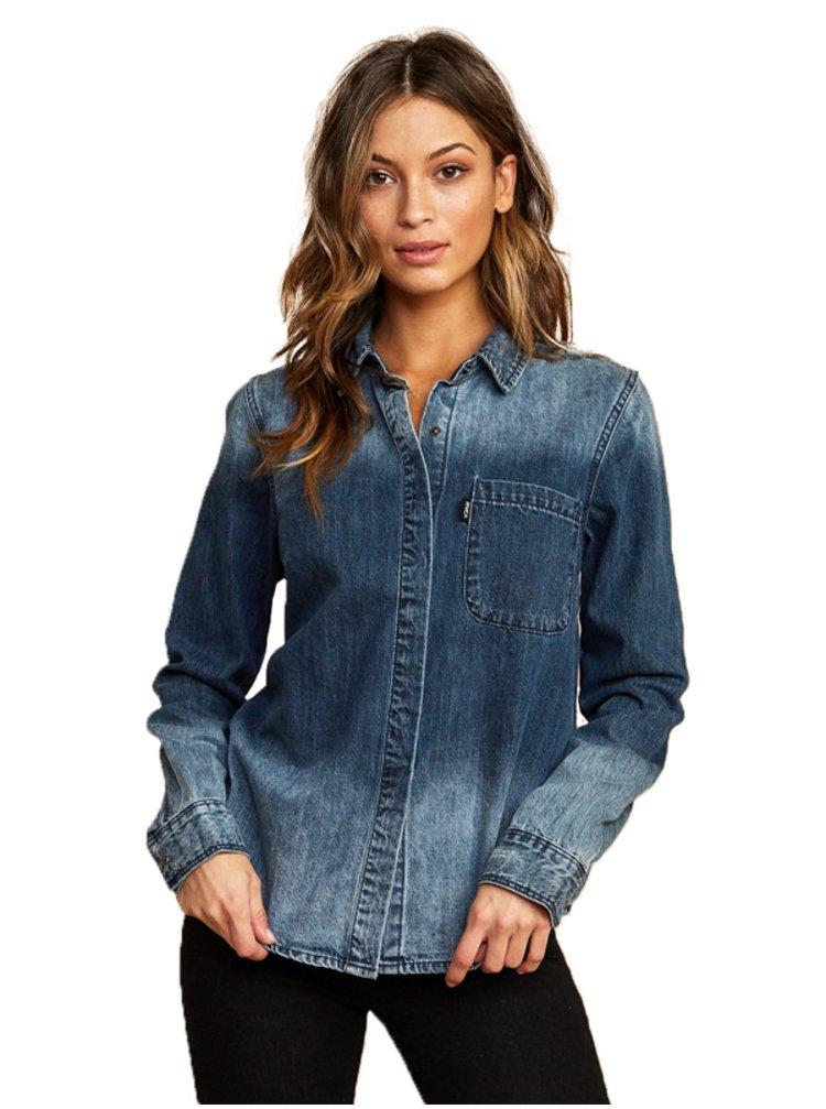 RVCA UNEARTHED AGED INDIGO dámská košile s dlouhým rukávem - modrá