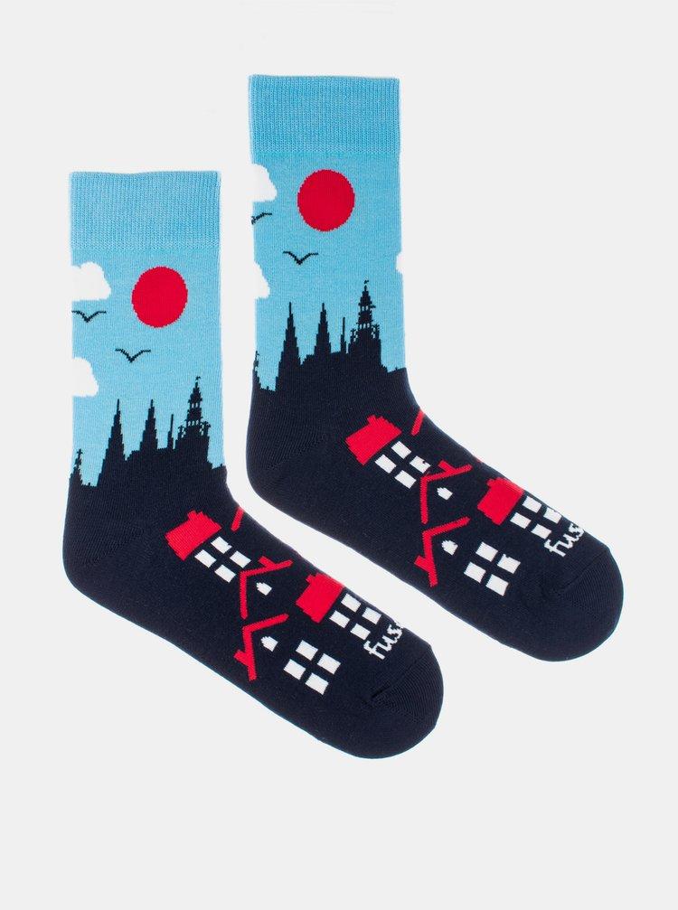 Modré vzorované ponožky Fusakle Praha Hrad