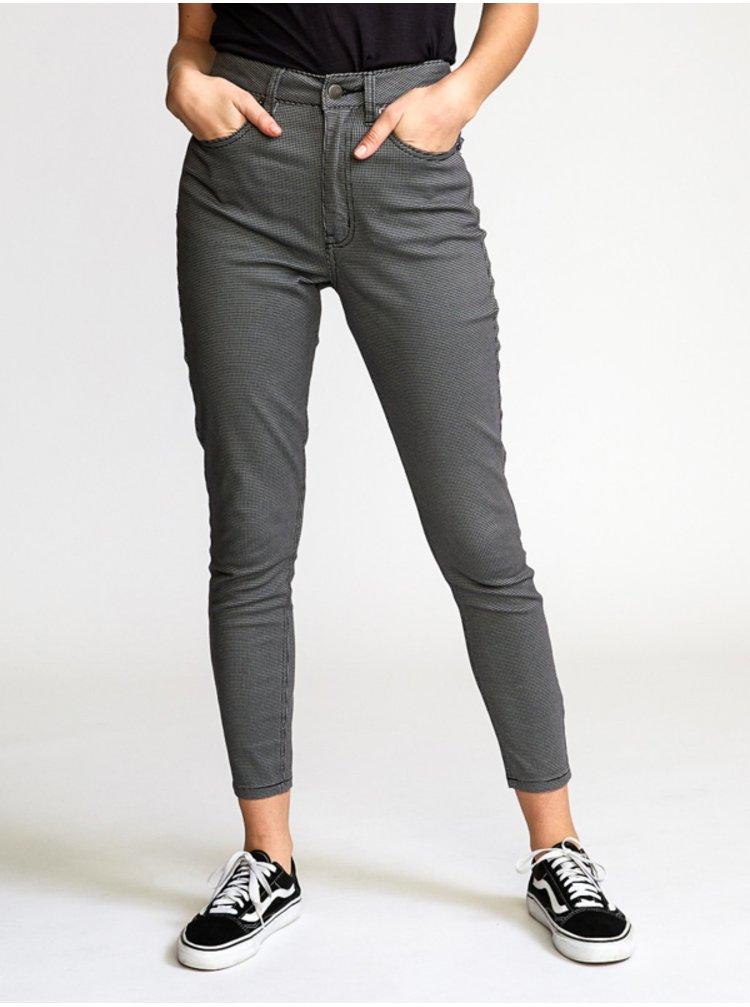 RVCA SOLAR HOUNDSTOOTH black plátěné kalhoty dámské - černá