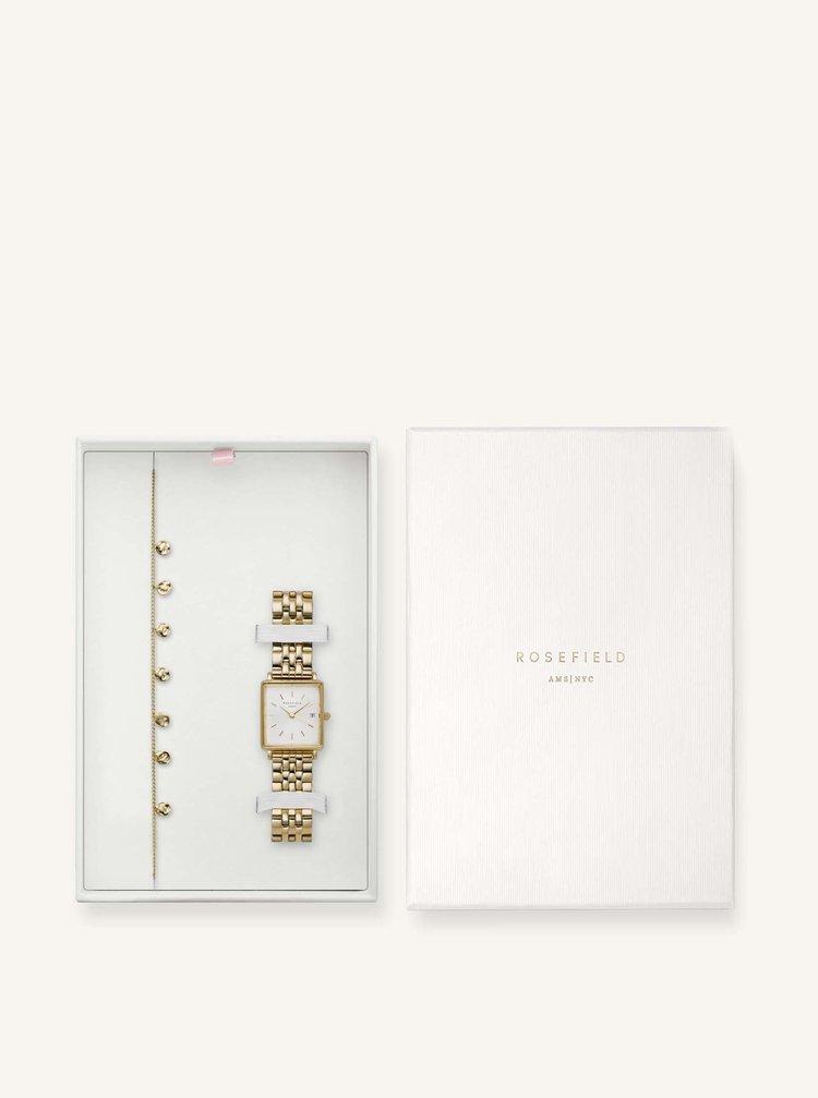 Sada dámskych hodiniek a náramku v zlatej farbe Rosefield