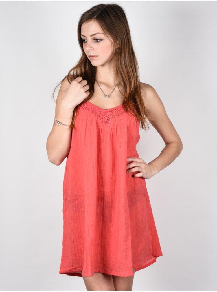 Billabong BEACH BOUND HORIZON RED krátké letní šaty - oranžová