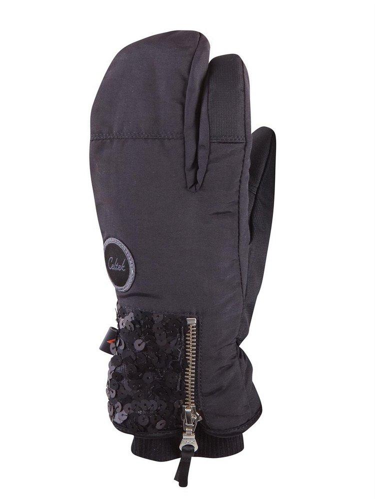 Celtek Hello Operator BLACK SEQUIN zimní palcové rukavice - černá