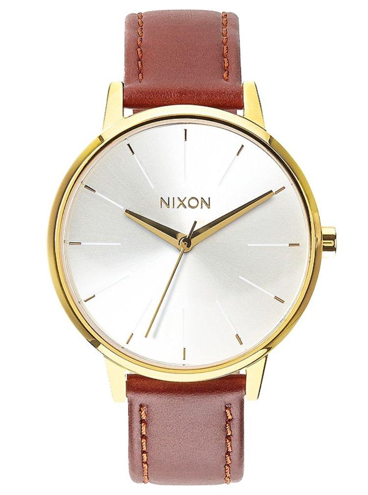 Nixon KENSINGTON LEATHER GOLDSADDLE analogové hodinky - zlatá barva