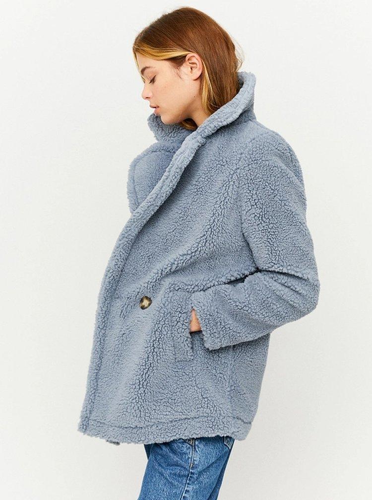 Modrý krátký kabát z umělého kožíšku TALLY WEiJL