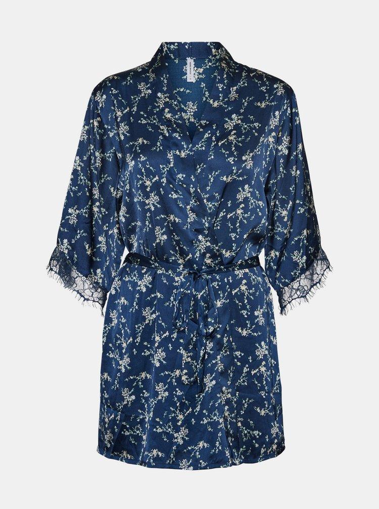 Modré květované saténové kimono VERO MODA