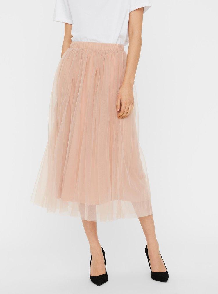 Růžová tylová midi sukně VERO MODA