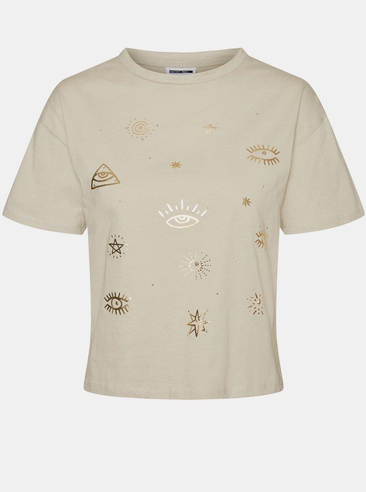 Béžové tričko s potlačou Noisy May Brandy