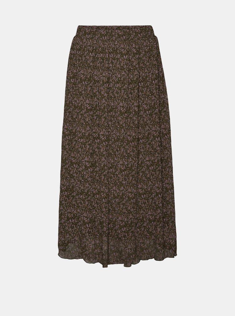 Hnedá vzorovaná midi sukňa VERO MODA