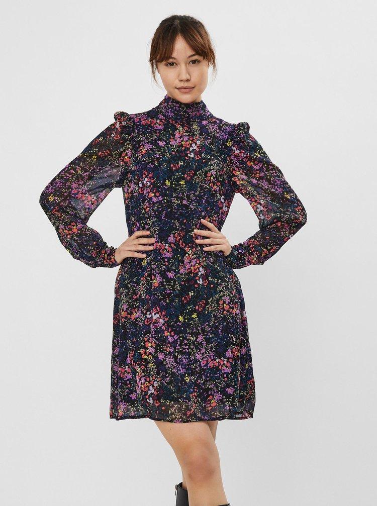 Černé květované šaty VERO MODA Wippa