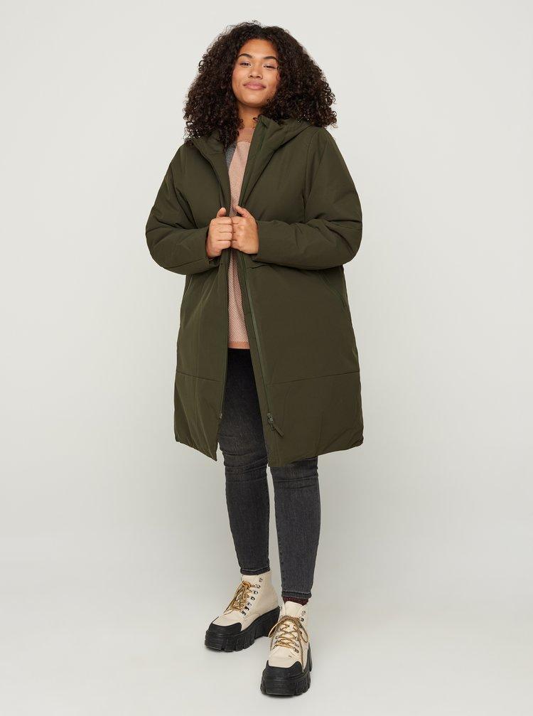 Khaki zimní kabát Zizzi